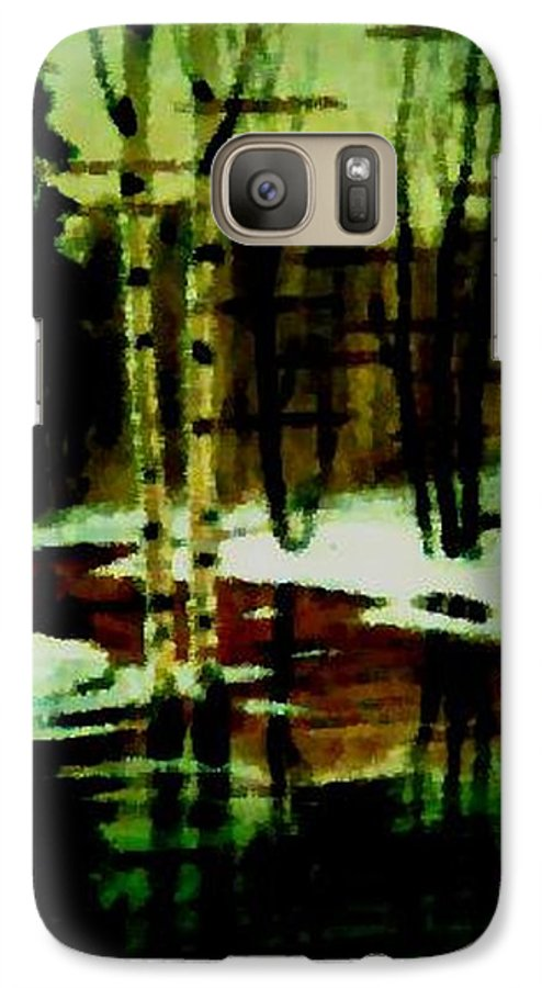 Sprig.forest.snow.water.trees.birches. Puddles.sky.reflection. Galaxy S7 Case featuring the digital art European Spring by Dr Loifer Vladimir
