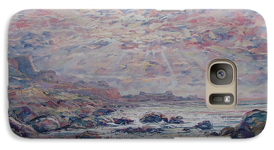 Seascape Galaxy S7 Case featuring the painting Evening At The Beach by Leonard Holland