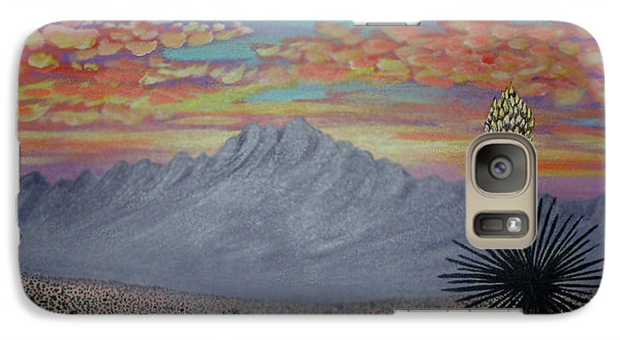 Desertscape Galaxy S7 Case featuring the painting Evening In The Desert by Marco Morales
