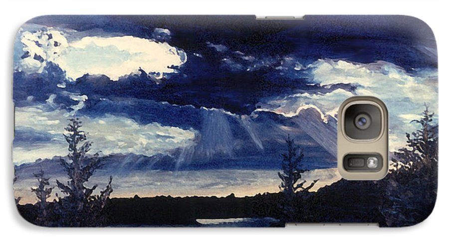Landscape Galaxy S7 Case featuring the painting Evening Lake by Steve Karol