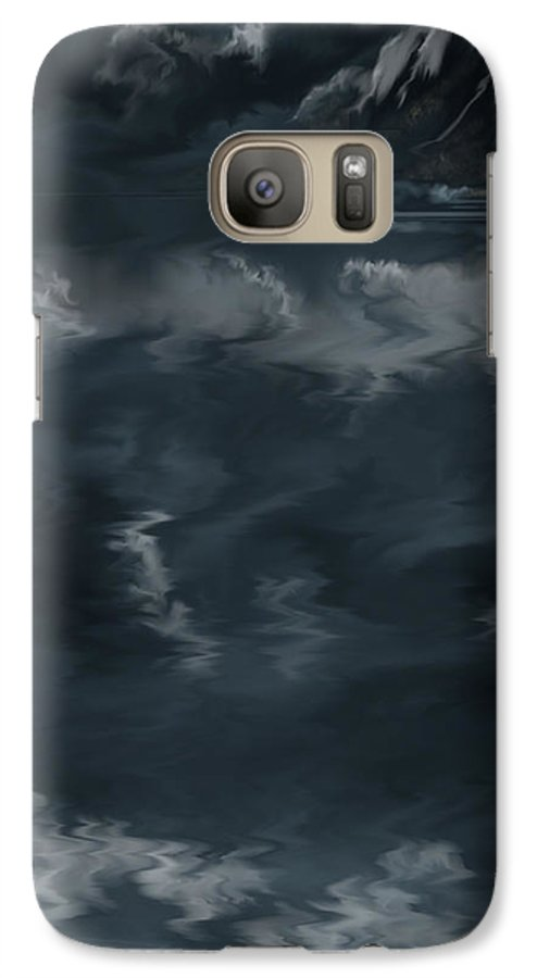 Seascape Galaxy S7 Case featuring the painting Evening Lights And Rocks by Anne Norskog