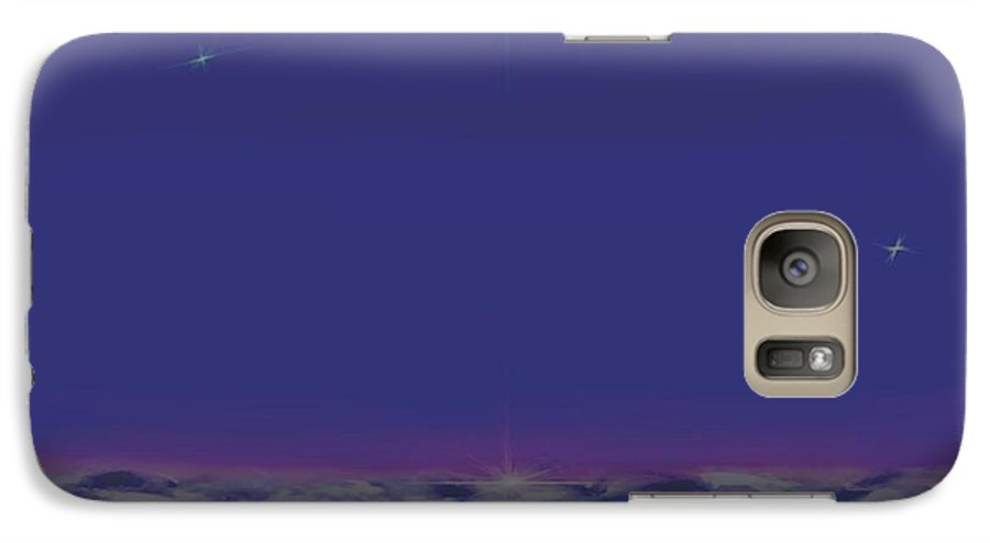 Late Evening.violet Dark Sky.rest.little Stars.last Ray Of Sun.sea.waves.silence. Birds.quiet. Galaxy S7 Case featuring the digital art Evening.birds by Dr Loifer Vladimir