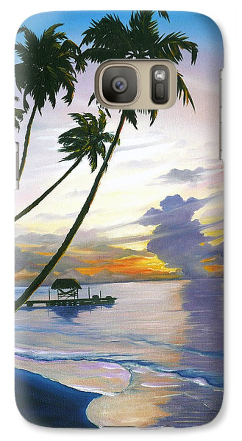 Ocean Painting Seascape Painting Beach Painting Sunset Painting Tropical Painting Tropical Painting Palm Tree Painting Tobago Painting Caribbean Painting Original Oil Of The Sun Setting Over Pigeon Point Tobago Galaxy S7 Case featuring the painting Eventide Tobago by Karin Dawn Kelshall- Best