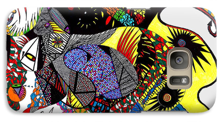 Psychedelic Galaxy S7 Case featuring the painting Evil Born by Safak Tulga