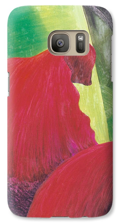 Red Galaxy S7 Case featuring the painting Expectations by Christina Rahm Galanis
