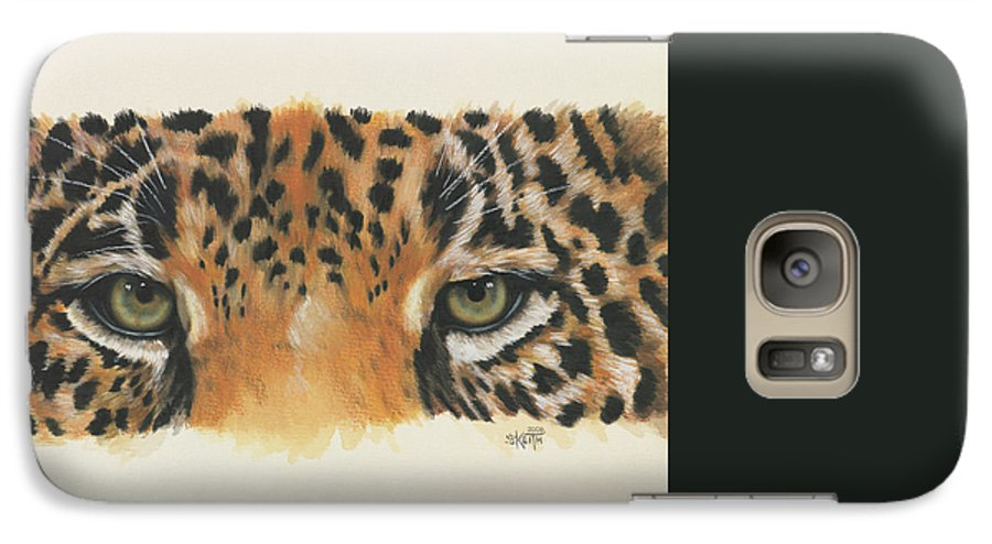 Big Cat Galaxy S7 Case featuring the painting Eye-catching Jaguar by Barbara Keith