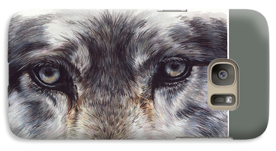 Wolf Galaxy S7 Case featuring the painting Eye-catching Wolf by Barbara Keith
