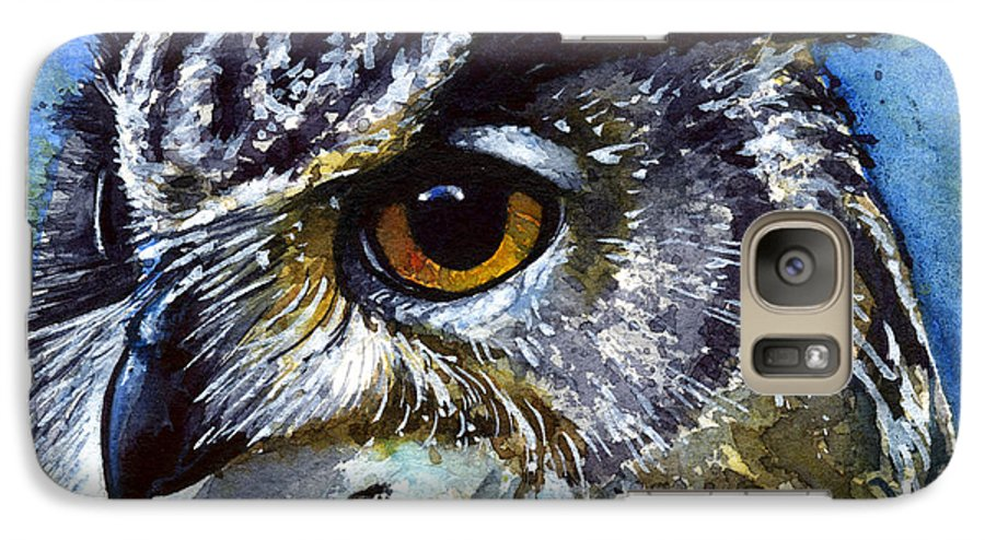 Owls Galaxy S7 Case featuring the painting Eyes Of Owls No.25 by John D Benson