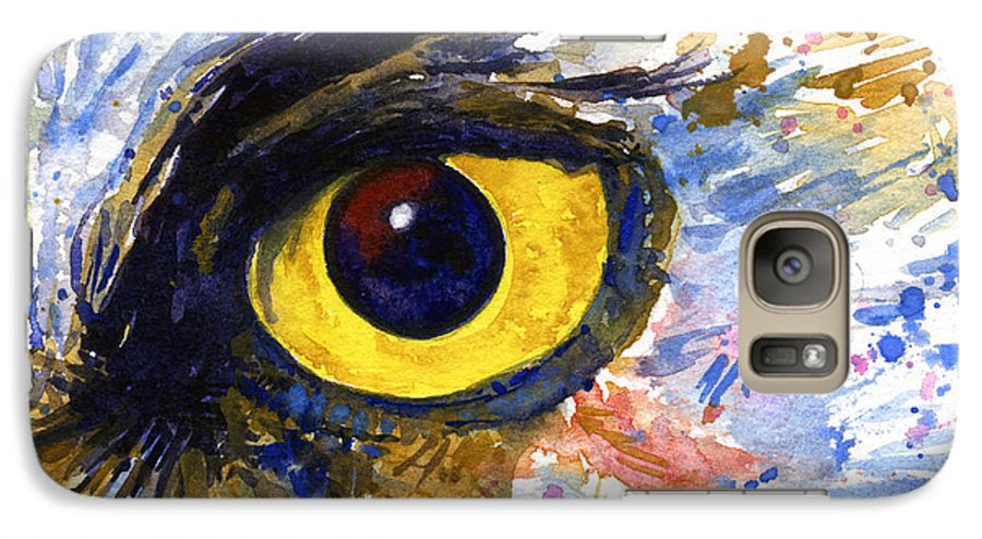 Owls Galaxy S7 Case featuring the painting Eyes Of Owl's No.6 by John D Benson