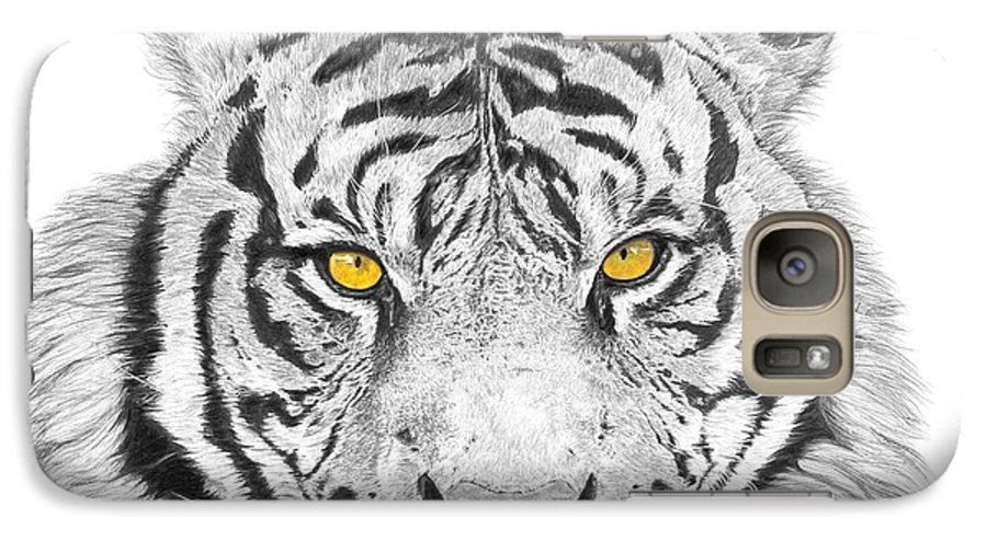Tiger Galaxy S7 Case featuring the drawing Eyes Of The Tiger by Shawn Stallings