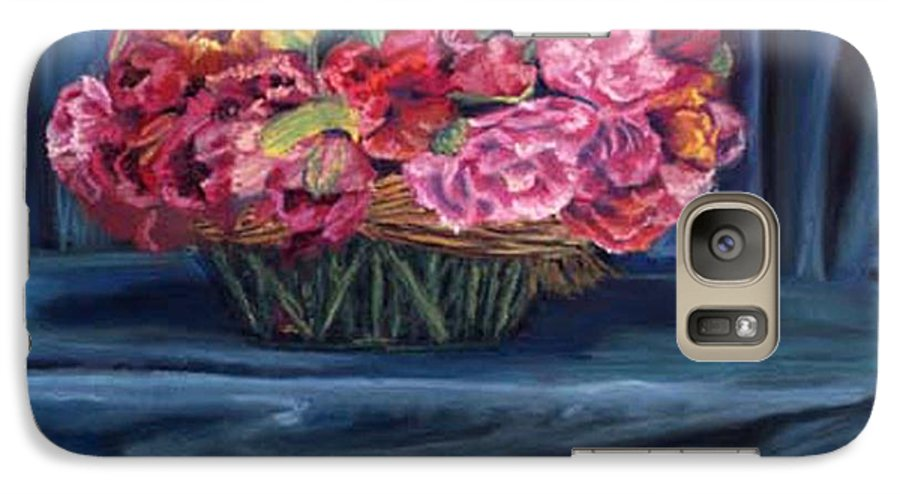 Flowers Galaxy S7 Case featuring the painting Fabric And Flowers by Sharon E Allen