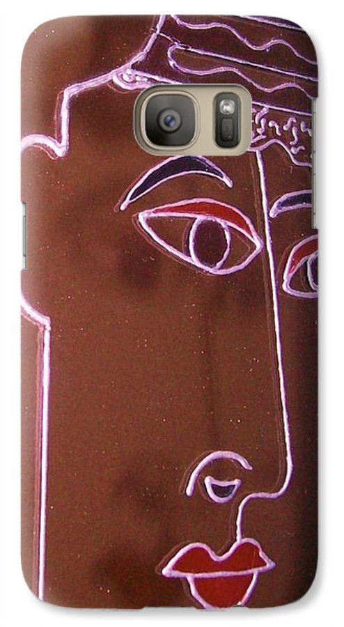 Faces Galaxy S7 Case featuring the painting Faces And Alphabets by Sylvia Hanna Dahdal