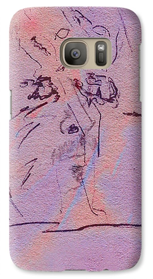 Abstract Galaxy S7 Case featuring the mixed media Faces Of Trivia by Steve Karol