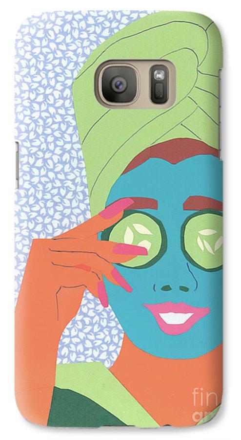 Face Galaxy S7 Case featuring the mixed media Facial Masque by Debra Bretton Robinson