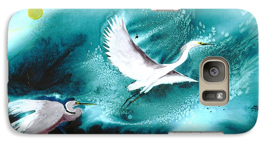 A Pair Of Egrets By The Water At Night- A Watercolor Painting Galaxy S7 Case featuring the painting Fairies by Mui-Joo Wee