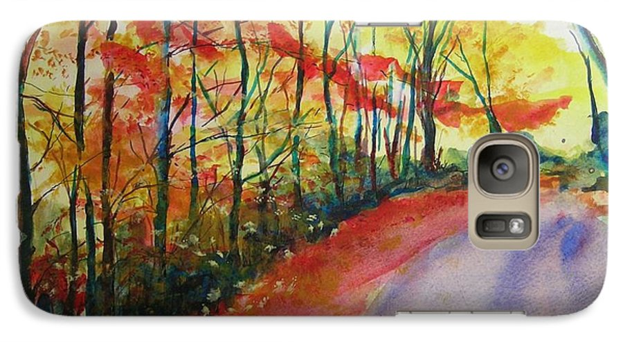 Abstract Landscape Galaxy S7 Case featuring the painting Fall Abstract by Lizzy Forrester