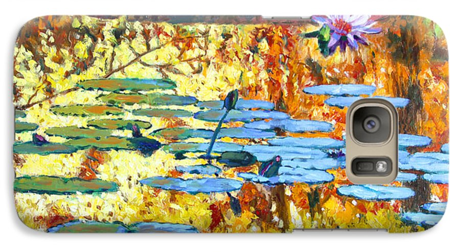 Fall Galaxy S7 Case featuring the painting Fall Colors On The Lily Pond by John Lautermilch