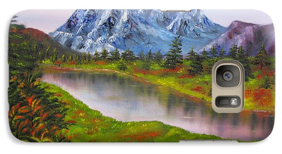 Fall Galaxy S7 Case featuring the painting Fall In Mountains Landscape Oil Painting by Natalja Picugina