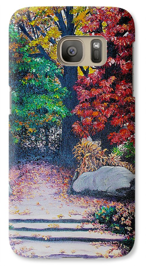 A N Original Painting Of An Autumn Scene In The Gateneau In Quebec Galaxy S7 Case featuring the painting Fall In Quebec Canada by Karin Dawn Kelshall- Best
