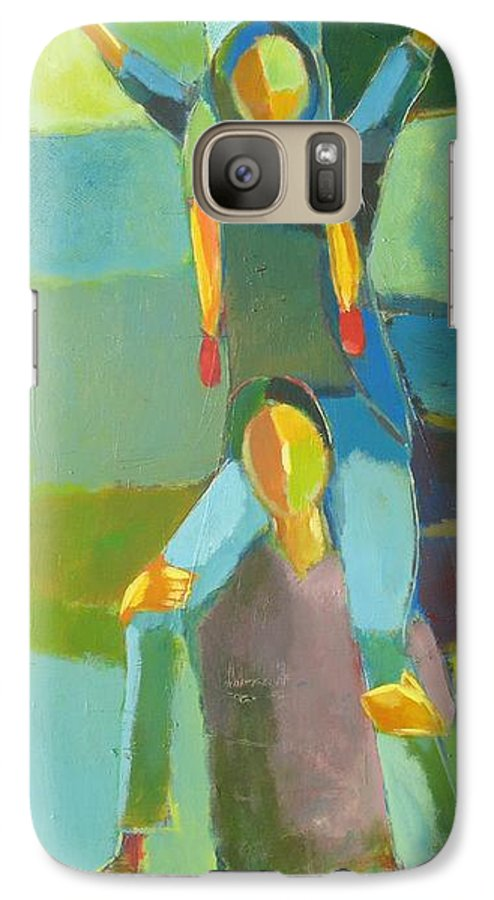 Abstract Galaxy S7 Case featuring the painting Family Joy by Habib Ayat