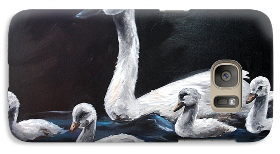 Swan Galaxy S7 Case featuring the painting Family Of Swans by Maryn Crawford