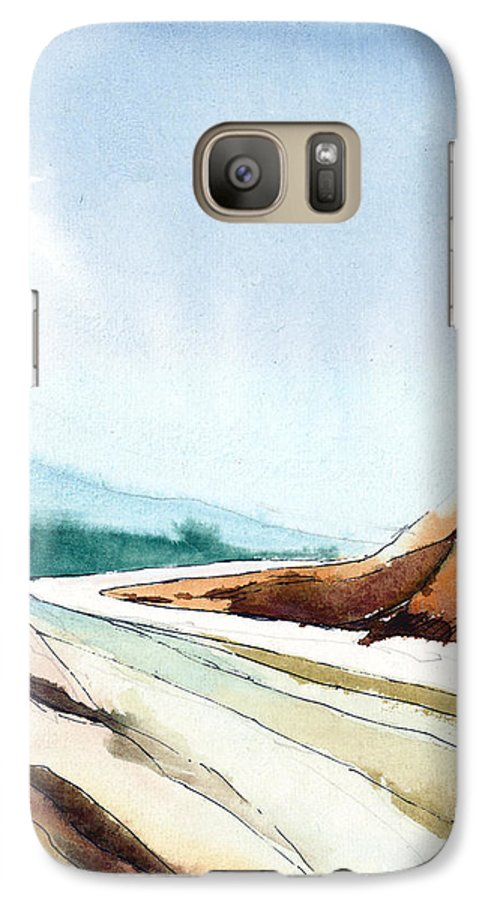 Landscape Galaxy S7 Case featuring the painting Far Away by Anil Nene