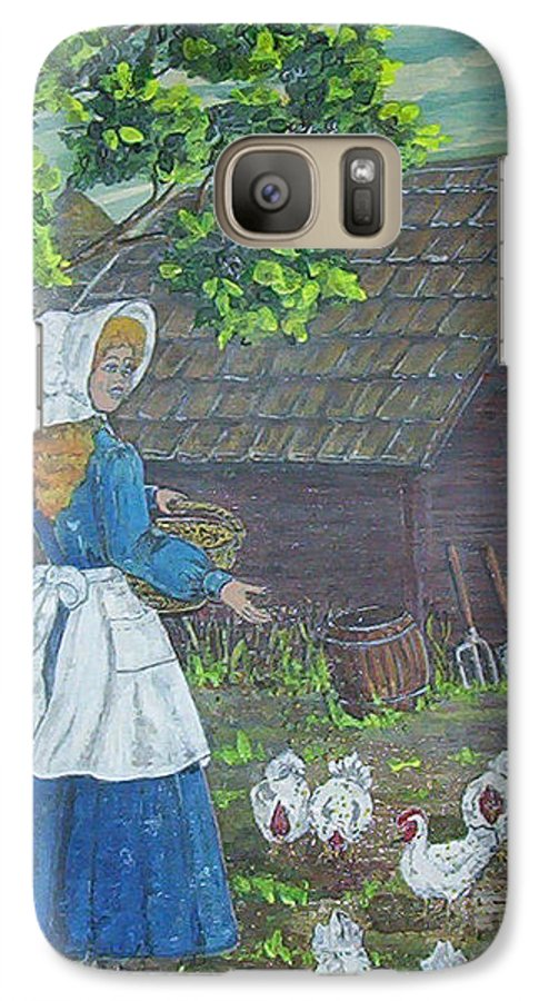 Barn Galaxy S7 Case featuring the painting Farm Work I by Phyllis Mae Richardson Fisher
