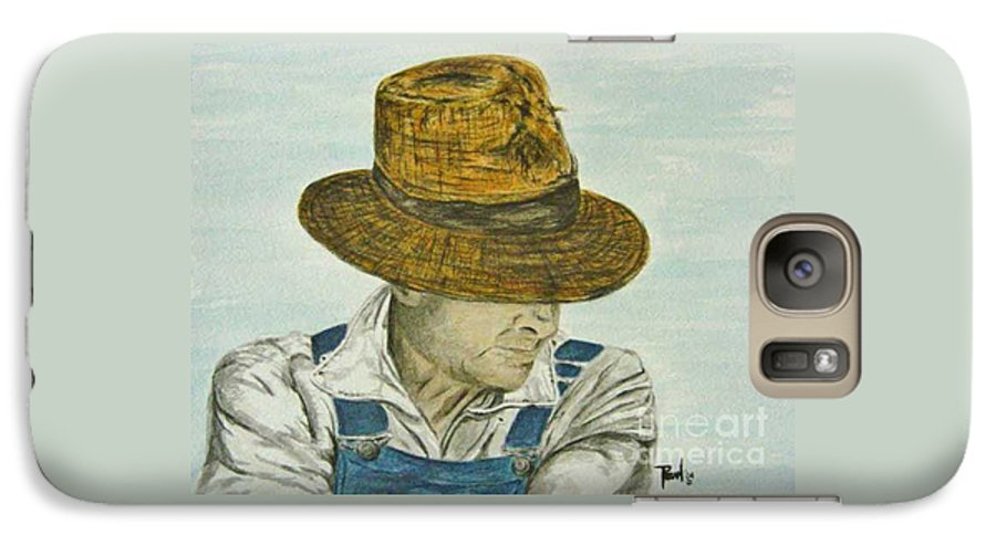 Portrait Galaxy S7 Case featuring the painting Farmer Ted by Regan J Smith
