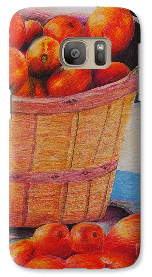Produce In A Basket Galaxy S7 Case featuring the drawing Farmers Market Produce by Nadine Rippelmeyer