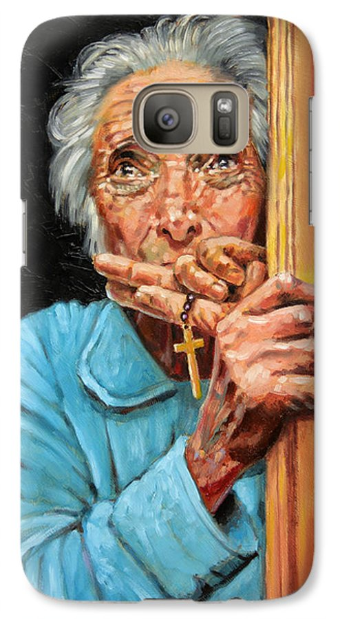 Old Woman Galaxy S7 Case featuring the painting Fear And Faith by John Lautermilch