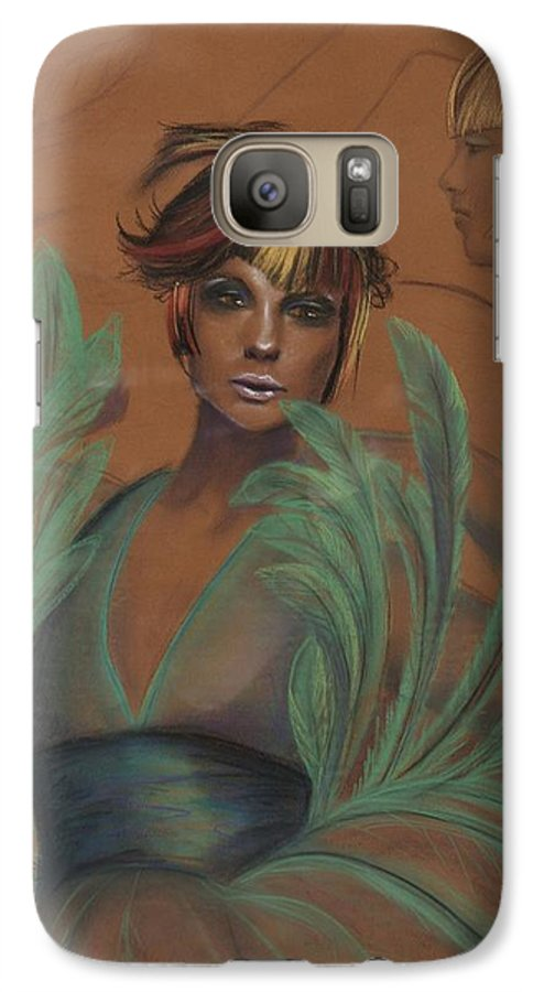 Feather Galaxy S7 Case featuring the drawing Feathers by Maryn Crawford