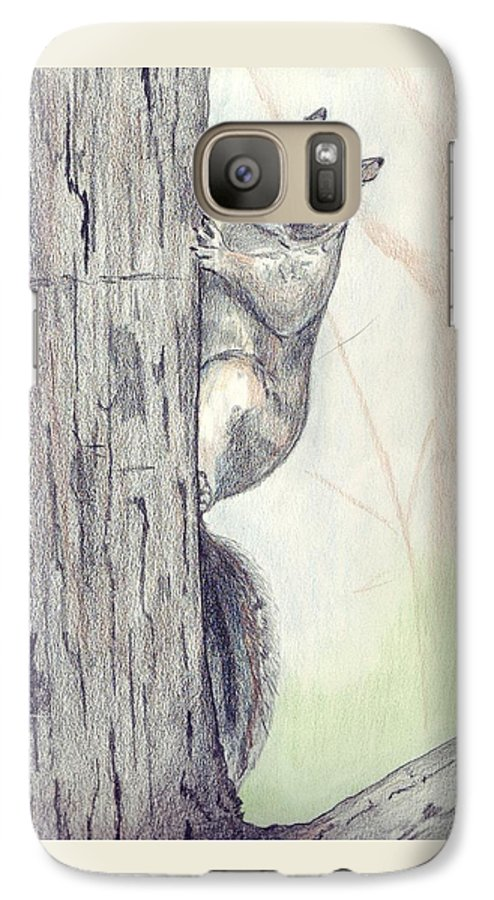 Color Pencil Galaxy S7 Case featuring the drawing Feeder Raider by Debra Sandstrom