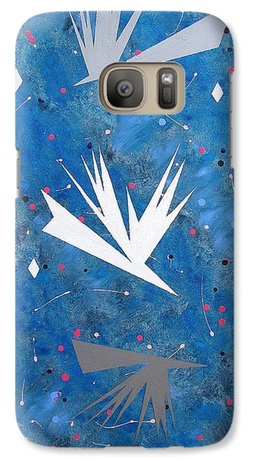 Birds And Diamond Stars Galaxy S7 Case featuring the painting Feeding Frenzy by J R Seymour
