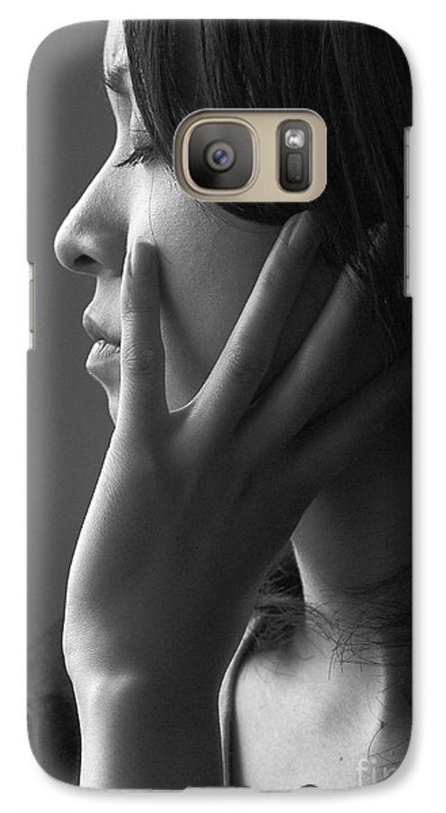 Woman Girl Candid Monochrome Hand Galaxy S7 Case featuring the photograph Ferry Girl by Sheila Smart Fine Art Photography