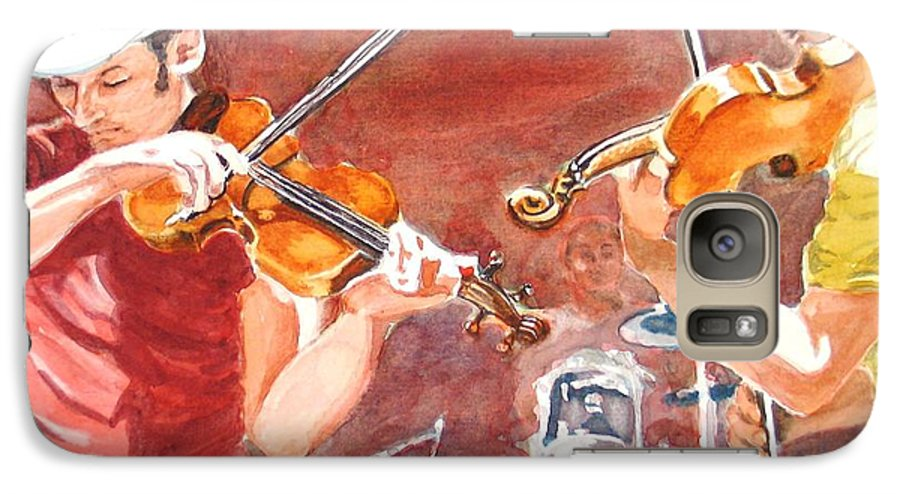 Musicians Galaxy S7 Case featuring the painting Fiddles by Karen Ilari