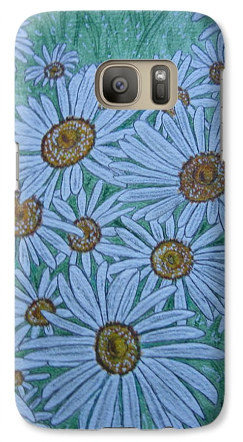 Field Galaxy S7 Case featuring the painting Field Of Wild Daisies by Kathy Marrs Chandler