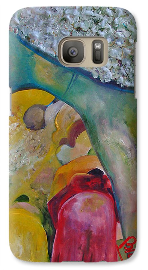 Cotton Galaxy S7 Case featuring the painting Fields Of Cotton by Peggy Blood