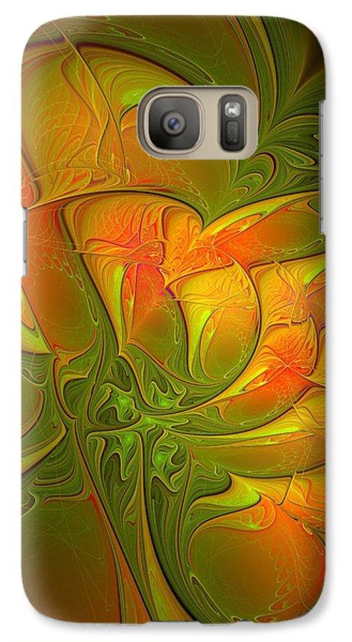 Digital Art Galaxy S7 Case featuring the digital art Fiery Glow by Amanda Moore