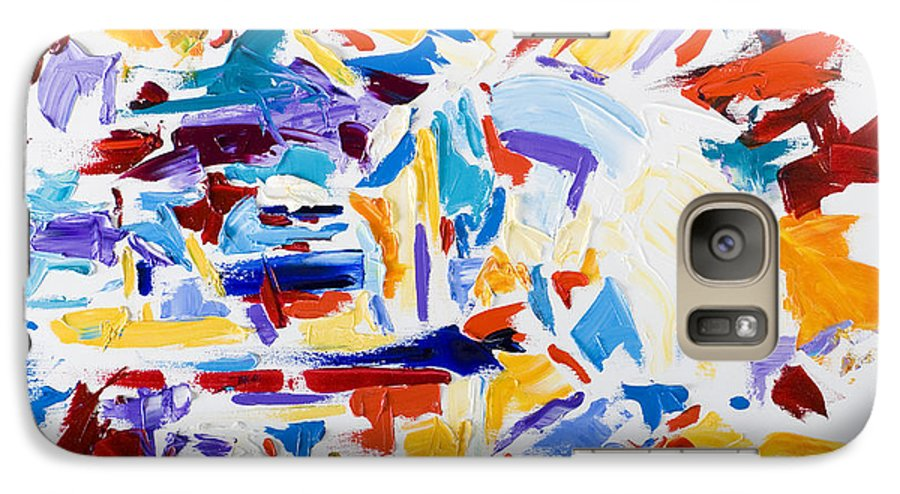 Abstract Yellow Galaxy S7 Case featuring the painting Fiesta by Shannon Grissom
