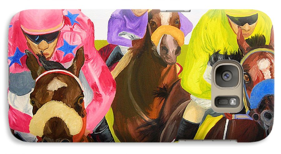 Horse Racing Galaxy S7 Case featuring the painting Finish Line by Michael Lee