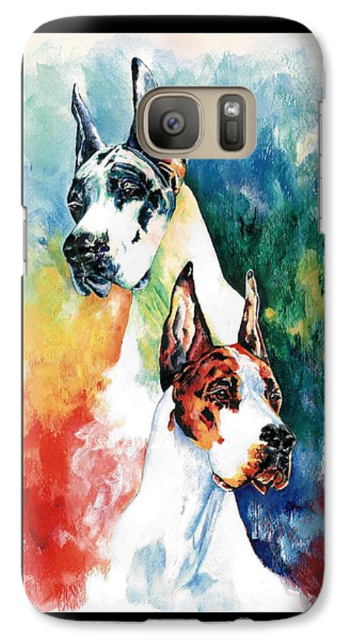 Great Dane Galaxy S7 Case featuring the painting Fire And Ice by Kathleen Sepulveda