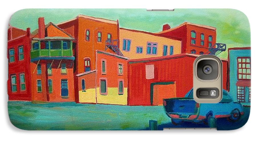 Cityscape Galaxy S7 Case featuring the painting Fire Escapes In Burlington by Debra Bretton Robinson