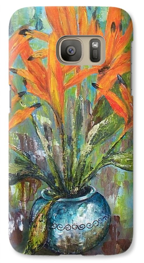 Galaxy S7 Case featuring the painting Fire Flowers by Carol P Kingsley