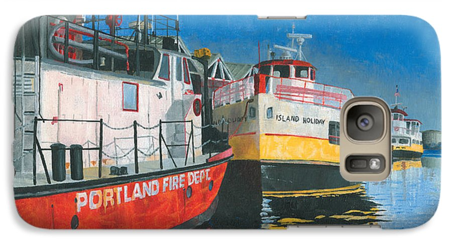 Fireboat Galaxy S7 Case featuring the painting Fireboat And Ferries by Dominic White