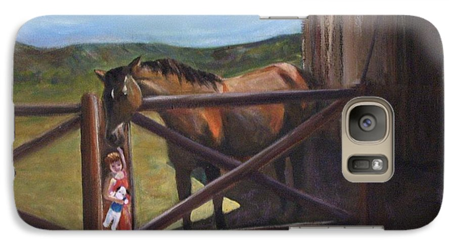 Horse Galaxy S7 Case featuring the painting First Love by Darla Joy Johnson