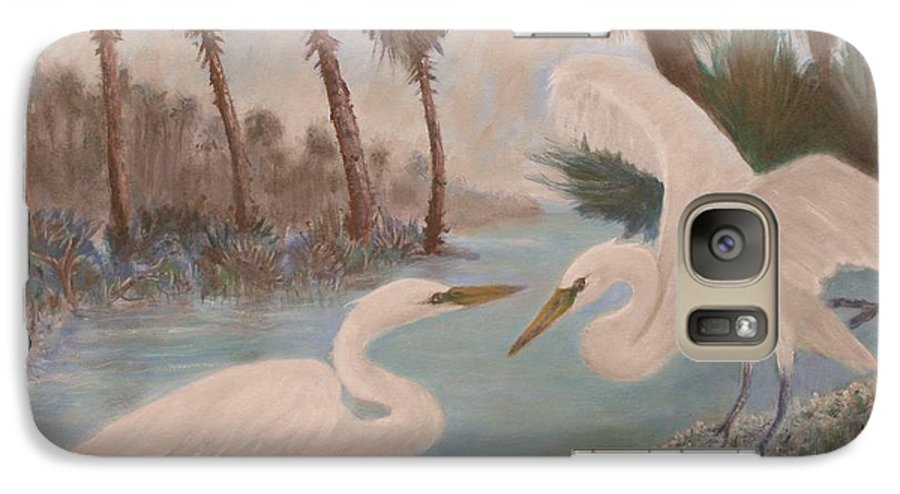 Egret Galaxy S7 Case featuring the painting First Meeting by Ben Kiger