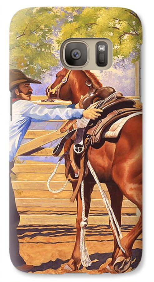 Cowboy Galaxy S7 Case featuring the painting First Saddling by Howard Dubois