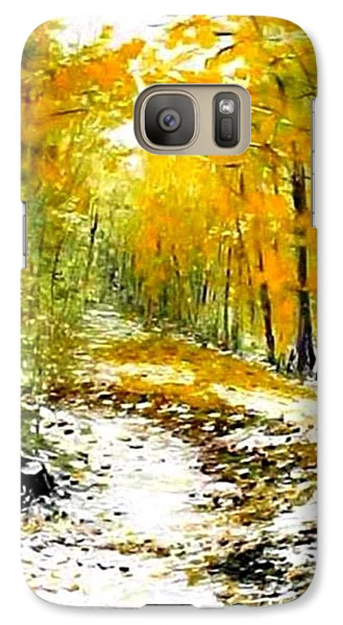 Landscape Galaxy S7 Case featuring the painting First Snow by Boris Garibyan