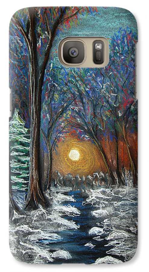 Snow Galaxy S7 Case featuring the pastel First Snow by Nancy Mueller