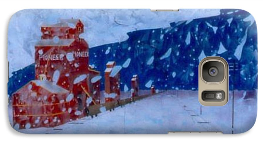 Landscape Galaxy S7 Case featuring the painting First Snow by Rick Silas